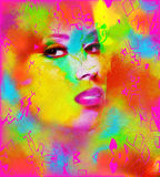 Face of beautiful woman in colorful 3d render. Colorful makeup and abstract background create modern portrait face of beautiful woman in colorful 3d render Royalty Free Stock Image