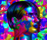 Face of beautiful woman in colorful 3d render. Colorful makeup and abstract background create modern portrait face of beautiful woman in colorful 3d render Royalty Free Stock Photography
