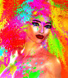 Face of beautiful woman in colorful 3d render. Colorful makeup and abstract background create modern portrait face of beautiful woman in colorful 3d render Royalty Free Stock Photos