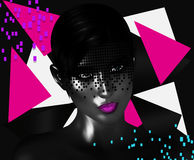 Face of beautiful woman in colorful 3d render. Colorful makeup and abstract background create modern portrait face of beautiful woman in colorful 3d render Stock Images