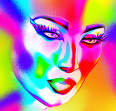 Face of beautiful woman in colorful 3d render. Colorful makeup and abstract background create modern portrait face of beautiful woman in colorful 3d render Stock Photography