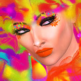 Face of beautiful woman in colorful 3d render. Royalty Free Stock Photos