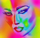 Face of beautiful woman in colorful 3d render. Royalty Free Stock Image