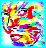 Face of beautiful woman in colorful 3d render. Royalty Free Stock Images