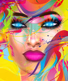 Face of beautiful woman in colorful 3d render. Stock Photos