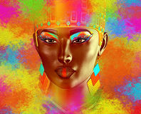 Face of beautiful woman in colorful 3d render. Royalty Free Stock Photo