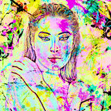 Face of beautiful woman in 3d render. Colorful makeup and abstract background create modern portrait Stock Image
