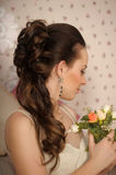 Face of beautiful woman with fashion hairstyle. And glamour makeu Stock Photography
