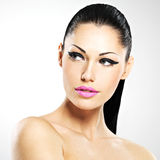Face of the beautiful woman with fashion makeup stock images