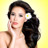 Face of beautiful woman with a  flower Royalty Free Stock Photo