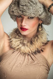 Face of a beautiful woman with fur collar and hat Royalty Free Stock Photo