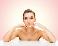 Face of beautiful woman with lines Royalty Free Stock Images