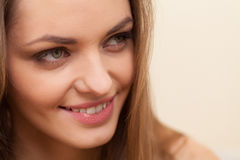 Face of beautiful woman with long hair. Stock Photography