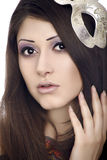 Face of beautiful woman with mask Stock Images