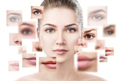 Face of beautiful woman pictured of different parts. royalty free stock images