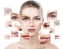 Face of beautiful woman pictured of different parts. royalty free stock photography