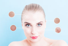 Face of beautiful woman with pores indicator Stock Images