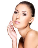 Face of beautiful woman with pure healthy skin Royalty Free Stock Photos