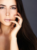 Face of beautiful woman with sexy lips Stock Images