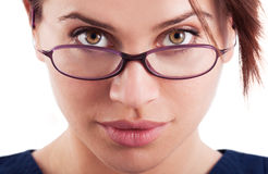 The face of a beautiful woman wearing glasses Stock Photography