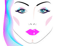 Face of a beautiful woman. On a white background Royalty Free Stock Photo