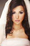 Face of beautiful young bride with happy smile Stock Image
