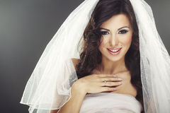 Face of beautiful young bride with happy smile Royalty Free Stock Photo