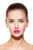 Face of a beautiful young fashion woman with glamour makeup Stock Image