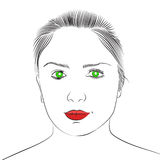 Face of beautiful young girl. With green eyes and red lips. Vector sketch. Hand drawn illustration Royalty Free Stock Photography