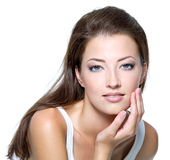 Face of beautiful young woman royalty free stock image