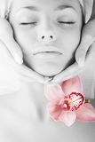 Face of beautiful young woman. With delicate orchid Stock Photography