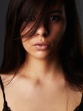 Face of beautiful Young woman.brunette Girl.close-up fashion portrait Stock Photos