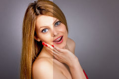 Face of beautiful young woman before and after retouch Royalty Free Stock Photo
