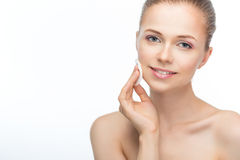Face of a beautiful young woman stock images