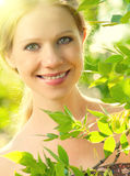 Face of beauty girl in nature Royalty Free Stock Photography