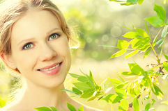 Face of beauty girl in nature Stock Images