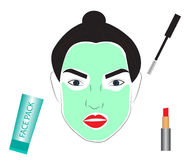 Face beauty skincare cosmetics vector. Facial beauty pack. Woman with beauty mask applied on face. Cosmetics, red lipstick, mascara illustration. Ideal for spa Royalty Free Stock Images