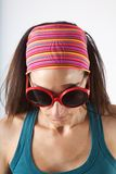 Face with big red sunglasses Royalty Free Stock Images