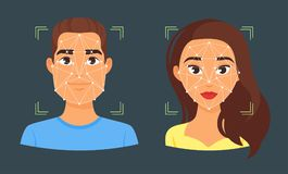 Face biometric identification illustration. Vector cartoon style face biometric identification illustration. Concept for web and mobile secure technology, facial royalty free illustration