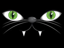 Face of black cat with green eyes Stock Photo
