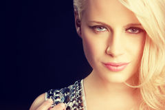 Face of Blond Woman Stock Images