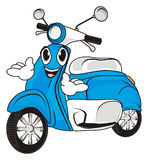 Face of blue moped. Happy face of blue moped with two hands Stock Image