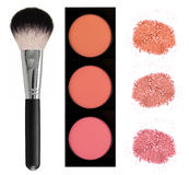 Face blush and brush isolated on white Stock Photos