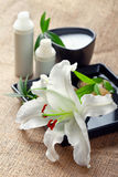 Face/body care concept: lily flower with creams Royalty Free Stock Photo