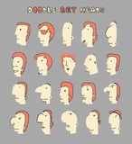 Face Boy. Set of 20 different avatar men characters Royalty Free Stock Images