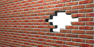 Face Brick Wall With Hole Royalty Free Stock Photos