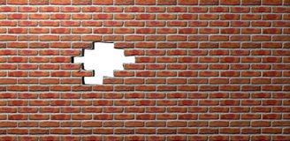 Face Brick Wall With Hole. A flat face brick wall texture with a portion missing out the middle creating a hole through to a plain white background stock photos