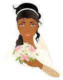 Face of bride. Portrait of beautiful african-american bride with flowers in hand Stock Photos