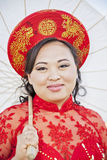 Face of bride wearing Vietnamese Ao Dai Stock Image
