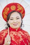 Face of bride wearing Vietnamese Ao Dai Stock Image